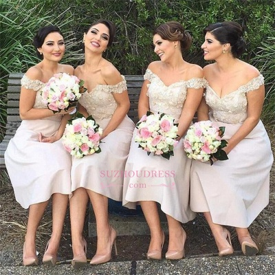 Glamorous Lace Off-the-Shoulder Short Bridesmaids Dress_1
