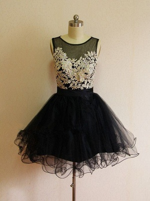 A-Line Black Lace Applique  Homecoming Dresses Latest Sleeveless Mini Cocktail Dress_1