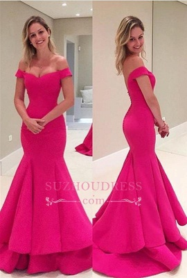 Off-The-Shoulder Short Sleeves Fuchsia Mermaid Prom Dresses_2