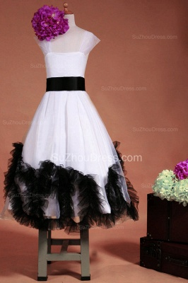 Cuty White Flower Girl Dresses Square Black Sash Tiered Ruffle Lovely Floor Length Zipper Organza Pageant Dress_2