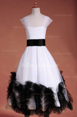 Cuty White Flower Girl Dresses Square Black Sash Tiered Ruffle Lovely Floor Length Zipper Organza Pageant Dress_6