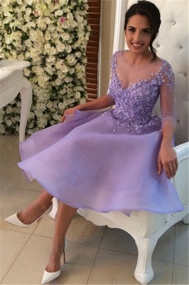 New Arrival Lavender Long Sleeve Homecoming Dresses A-Line Mini Short Dress with Flowers_1