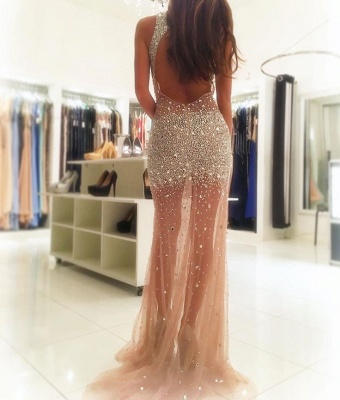 V-neck Sleeveless Sheer Tulle Sexy Prom Dresses  Side Slit Crystals Beads Evening Gown_3