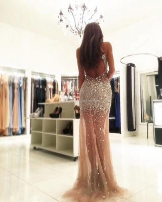 V-neck Sleeveless Sheer Tulle Sexy Prom Dresses  Side Slit Crystals Beads Evening Gown_4