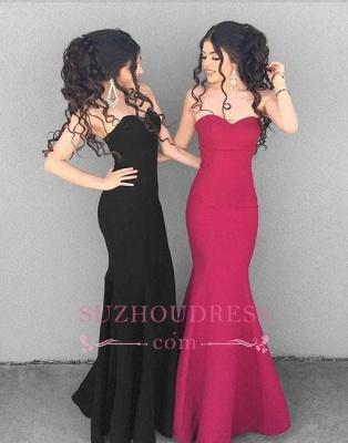 Black Mermaid Simple Long Formal Dress  Stylish Sweetheart-neck Evening Dresses_3