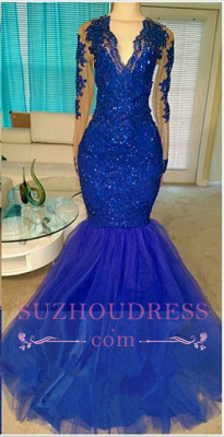 Royal-Blue V-neck Long-Sleeve Mermaid Sequins Appliques Beading Tulle Prom Dresses_3