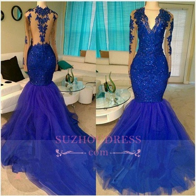 Royal-Blue V-neck Long-Sleeve Mermaid Sequins Appliques Beading Tulle Prom Dresses_2