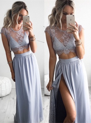 Two Piece Summer Party Dress Illusion Lace Cap Sleeve Evening Gowns with Split BA3264_5