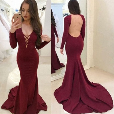 Sexy Burgundy Long Sleeves Evening Dresses  Backless Mermaid V-Neck Prom Dresses_4