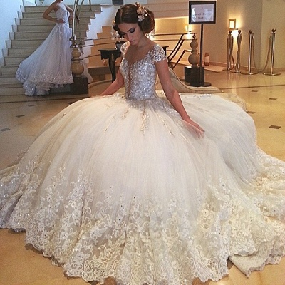 Gorgeous Cap-Sleeves Beaded Wedding Dresses  | Crystals Lace Tulle Bridal Ball Gowns_3