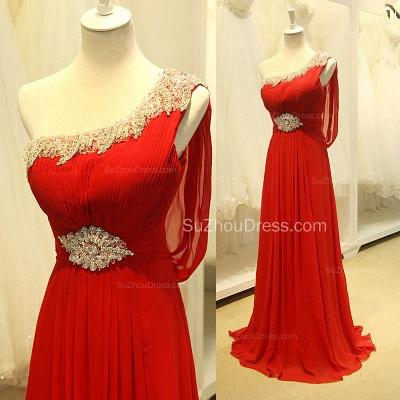 Red One Shoulder Crystal Chiffon Long Prom Dreses Sheer Back  Grad Dresses_3