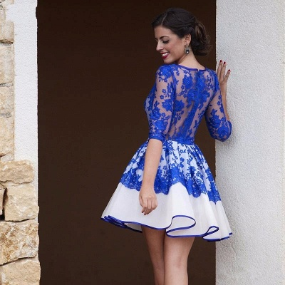 Royal Blue Lace Homecoming Dresses   Half Sleeve Short Evening Gowns BA3268_3