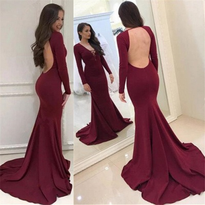 Sexy Burgundy Long Sleeves Evening Dresses  Backless Mermaid V-Neck Prom Dresses_3
