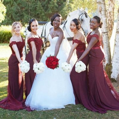 Glamorous Mermaid Lace Off-the-Shoulder Appliques Burgundy   Bridesmaid Dress_3