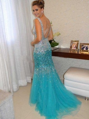 Sexy Mermaid Tulle Long Evening Dress with Crystals Open Back Plus Size Formal Occasion Gowns_2