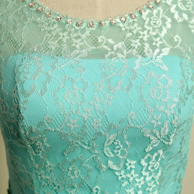 Ice Blue Floor Length Lace  Prom Gowns Applique Sexy Charming Evening Dresses_4