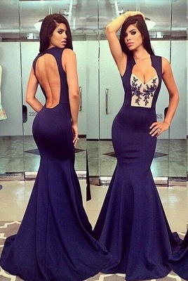 Sexy Mermaid Purple Open Back Evening Dress Halter Sleeveless Custom Made Party Dresses_1