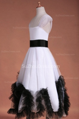Cuty White Flower Girl Dresses Square Black Sash Tiered Ruffle Lovely Floor Length Zipper Organza Pageant Dress_7