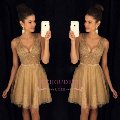 A-Line Sleeveless Sexy Short Homecoming Dress  V-Neck Tulle Prom Dresses_3