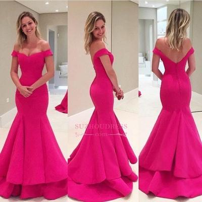 Off-The-Shoulder Short Sleeves Fuchsia Mermaid Prom Dresses_1