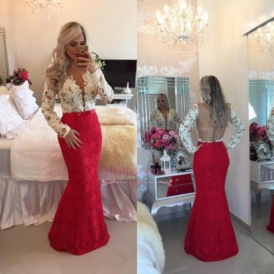 Lace Popular Beadings Floor-Length Long-Sleeves Mermaid Prom Dresses_1