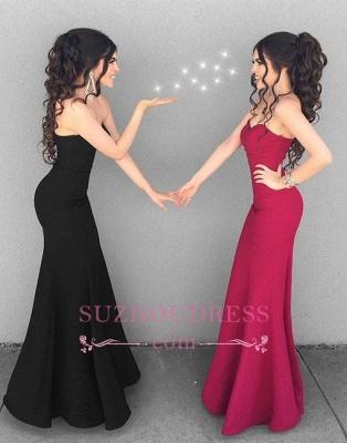 Black Mermaid Simple Long Formal Dress  Stylish Sweetheart-neck Evening Dresses_1