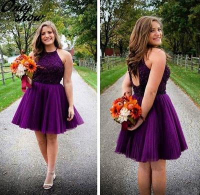 New Arrival Purple Halter Mini Homecoming Dress Tulle Open Back Plus Size Short Cocktail Dress_3