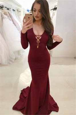 Sexy Burgundy Long Sleeves Evening Dresses  Backless Mermaid V-Neck Prom Dresses_5