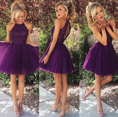 New Arrival Purple Halter Mini Homecoming Dress Tulle Open Back Plus Size Short Cocktail Dress_2