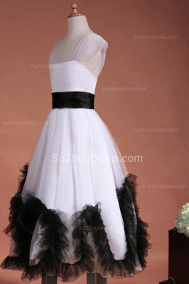 Cuty White Flower Girl Dresses Square Black Sash Tiered Ruffle Lovely Floor Length Zipper Organza Pageant Dress_8