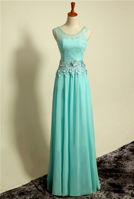 Ice Blue Floor Length Lace  Prom Gowns Applique Sexy Charming Evening Dresses_1