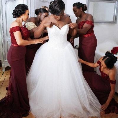 Glamorous Mermaid Lace Off-the-Shoulder Appliques Burgundy   Bridesmaid Dress_4