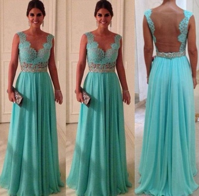 Jewel Lace Chiffon Prom Gowns Sweep Train Applique Sleeveless Evening Dresses_2