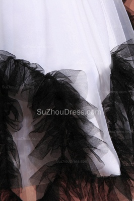 Cuty White Flower Girl Dresses Square Black Sash Tiered Ruffle Lovely Floor Length Zipper Organza Pageant Dress_5