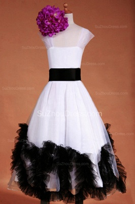 Cuty White Flower Girl Dresses Square Black Sash Tiered Ruffle Lovely Floor Length Zipper Organza Pageant Dress_1