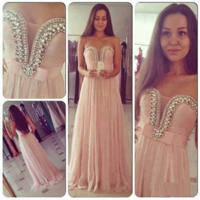 New Arrival Sweetheart Chiffon Prom Dress A-Line Crystal Formal Occasion Dresses_3