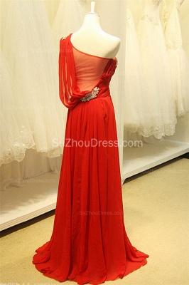 Red One Shoulder Crystal Chiffon Long Prom Dreses Sheer Back  Grad Dresses_2