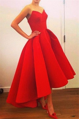 Red Sweetheart High Front Low Back Prom Dress  Elegant Sexy Plus Size Formal Dress_2
