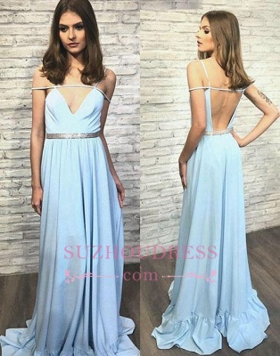 simple Long Backless Blue V-neck Stylish Evening Dress_3
