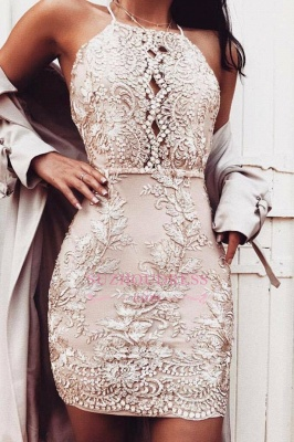 Short Sheath Champagne Hoco Dresses  | Beading Halter-Neck Homecoming Dresses_2