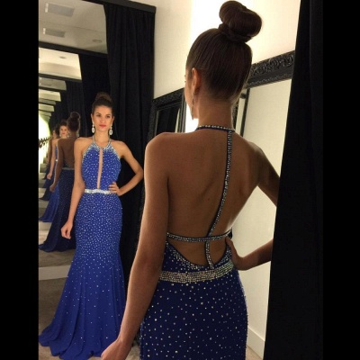 Full Sequins Beading Prom Dresses Sexy Open Back  Evening Gowns_3