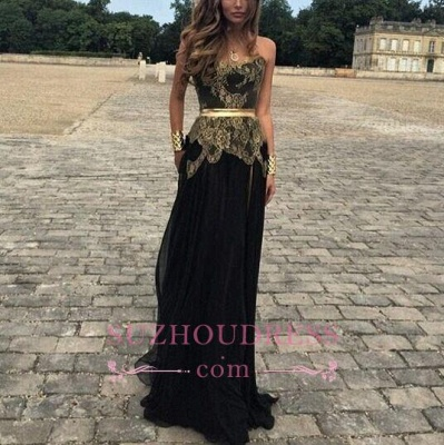 Sexy Belt Golden Gold Applique Black Chiffon New Dresses Lace Prom Evening Gowns_1