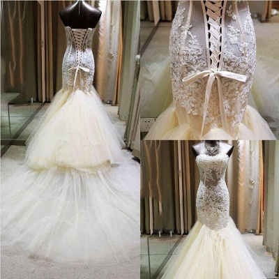Gorgeous Mermaid Sweetheart Wedding Dress Lace Applique  Bridal Gown with Long Train CE0159_6
