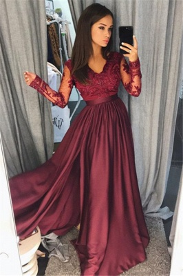 Long Sleeve Burgundy Lace Prom Dress   V-neck New Arrival Formal Evening Dress with Split FB0205_1
