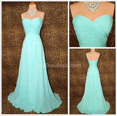 Blue Prom Dresses  Sweetheart Sleeveless A Line Sweep Train Chiffon Lace-up Evening Gowns_2