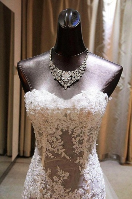 Gorgeous Mermaid Sweetheart Wedding Dress Lace Applique  Bridal Gown with Long Train CE0159_4