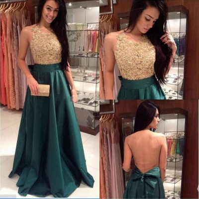 Charming Prom Dress  Jewel Sleeveless Sweep Train A Line Appliques Green Evening Gowns_2