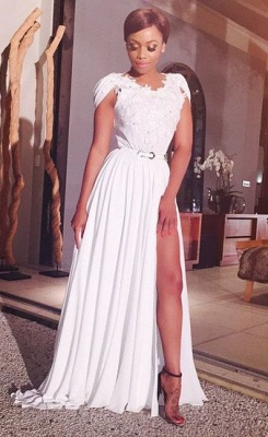 Latest A-line White Chiffon Long Evening Dress Sexy Lace Side Slit Formal Occasion Dresses BO9515_1