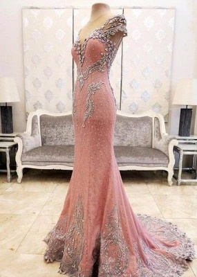 Pink Mermaid Crystals Evening Dress Beading Luxurious Formal Dresses_5