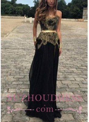 Sexy Belt Golden Gold Applique Black Chiffon New Dresses Lace Prom Evening Gowns_2